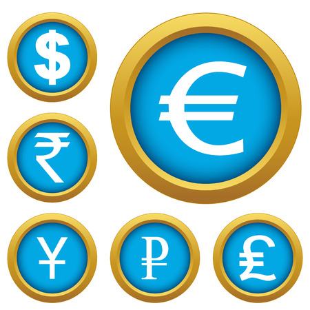 Set of buttons of different currencies. Vector illustration Vector