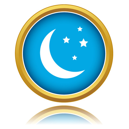 Moon icon in unique style on a white background Vector