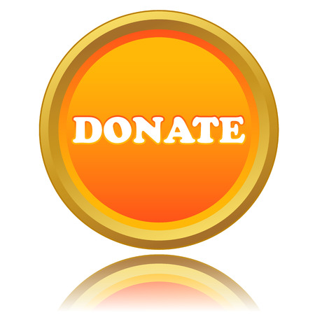 New orange button donate on a white background. Vector illustration