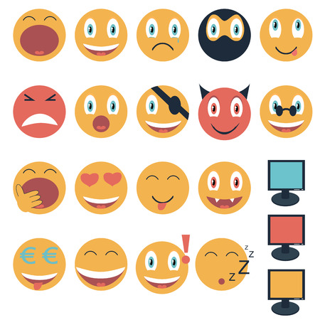 Vintage set of glossy Emoticons illustration Vector