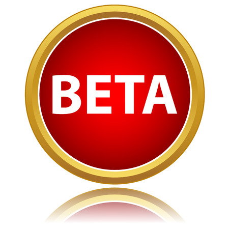 status: Red button Beta status on a white background
