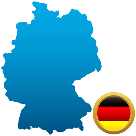 Map and flag of Germany on a white background Vector