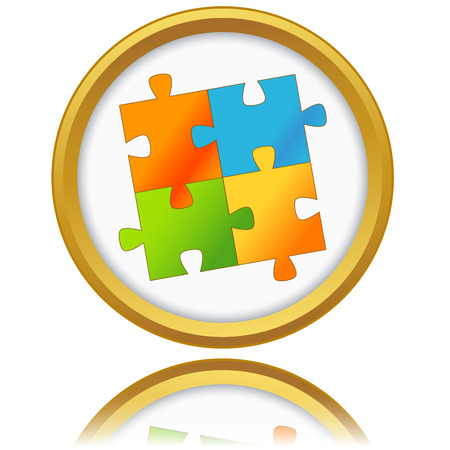 Jigsaw Puzzle icon on a white background. Vector illustration Vector