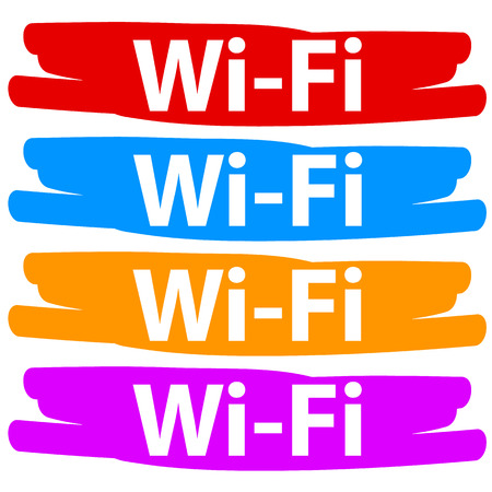 stiker: Varicolored wifi banners set isolated on a white
