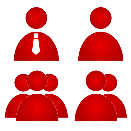 Red users icons set isolated on a white. Vector illustration Vector