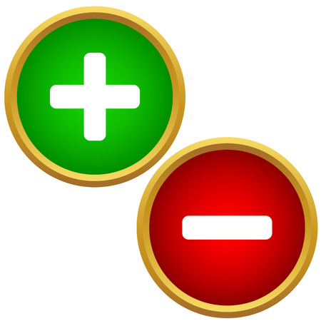 Plus and minus buttons isolated on a white Vector