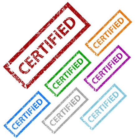 Grunge certified stamp set Vector