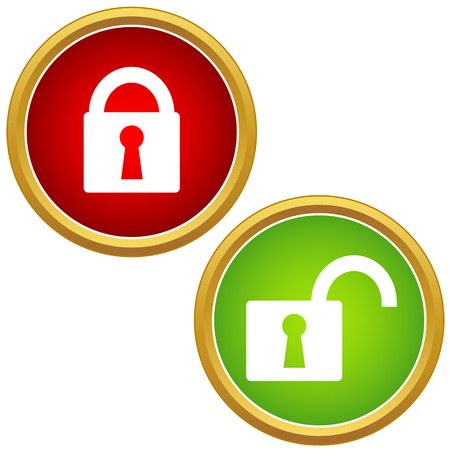 Vector Lock Icon Set On A White Background Vector