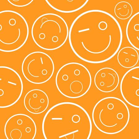 New orange smile seamless pattern.  Vector
