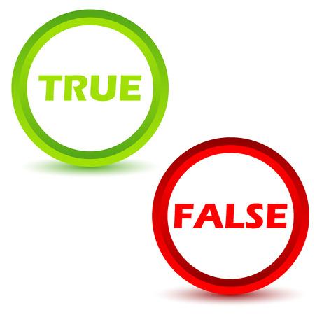 True false icons set Vettoriali