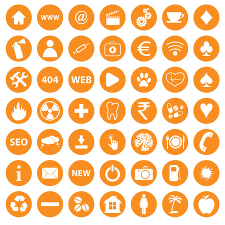 Orange icons set Vector