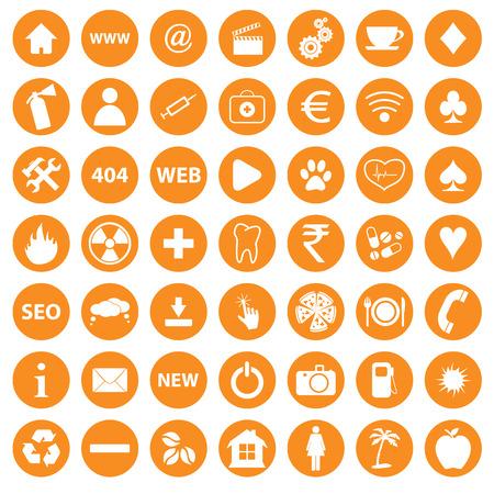 Orange icons set Vector
