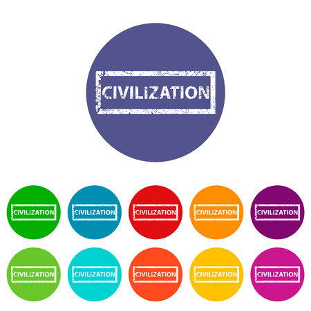 civilization: Civilization flat icon Illustration