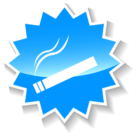 fag: Cigarette web blue icon on a white background. Vector Illustration