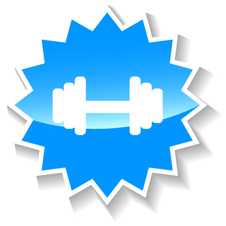 brawn: Barbell web blue icon on a white background. Vector Illustration