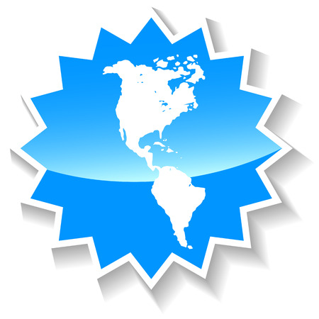 the americas: Continental Americas blue icon