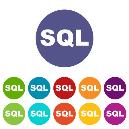 sql: SQL flat icon Illustration