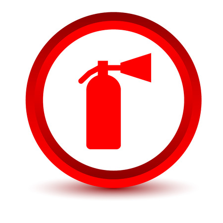 fire extinguisher: Red fire extinguisher icon Illustration