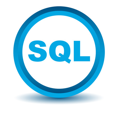 sql: Blue sql icon on a white background. Vector illustration