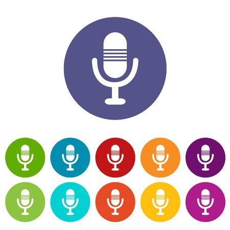 Microphone icône plat Banque d'images - 37172018