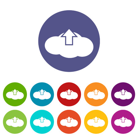 Upload cloud flat icon Vector