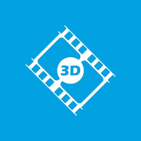 3d film: 3d film white icon