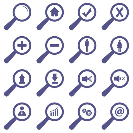 magnifying glass man: Unique icons set