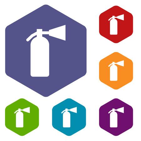 fire extinguisher: Fire extinguisher rhombus icons