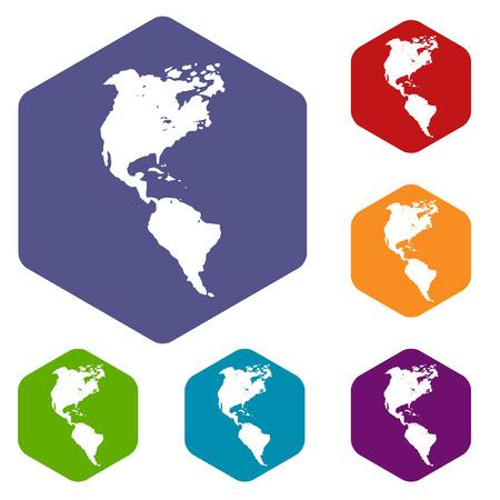 kontinentální: Continental Americas rhombus ikony Ilustrace