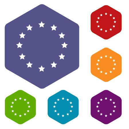 european union: European Union rhombus icons Illustration