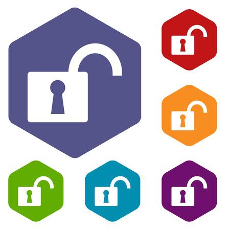Unlock rhombus icons