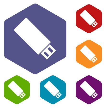 Flash drive rhombus icons Vector