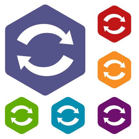 synchronization: Synchronization rhombus icons Illustration