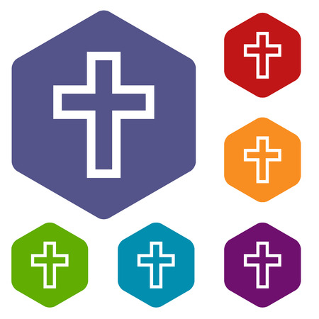 protestant: Protestant Cross rhombus icons Illustration