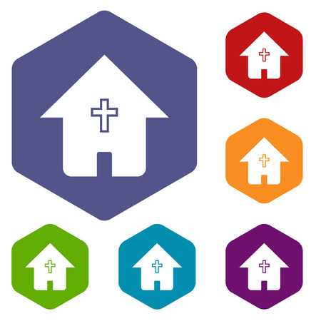 protestant: Protestant church rhombus icons Illustration