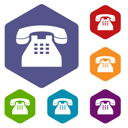telephone icons: Telephone rhombus icons