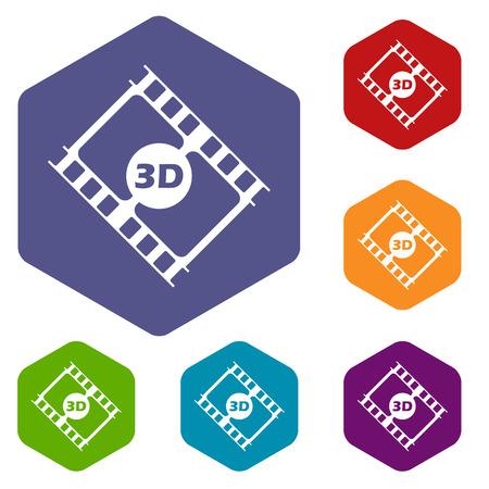 3d film: 3d film rhombus icons