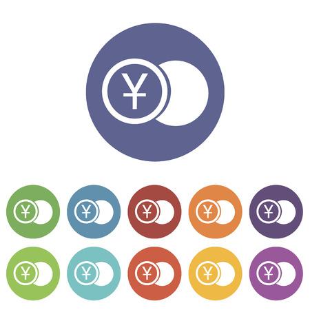 yen: Yen coin flat icon Illustration