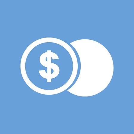 Dollar coin white icon
