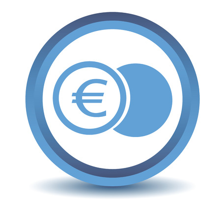 coin purses: Blue euro coin icon Illustration