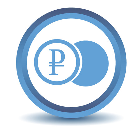 rouble: Blue rouble coin icon Illustration
