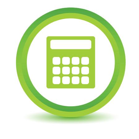 reckon: Green calculator icon Illustration