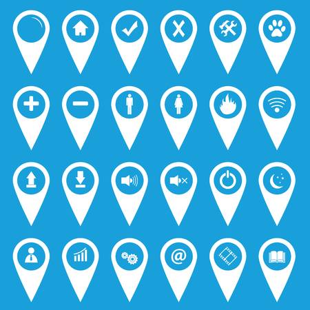 Best pointer white flat icons set on a blue background. Vector Illustration Vector