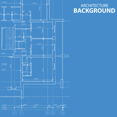 Interesting blueprint architectural model in unique style. Vector illustration