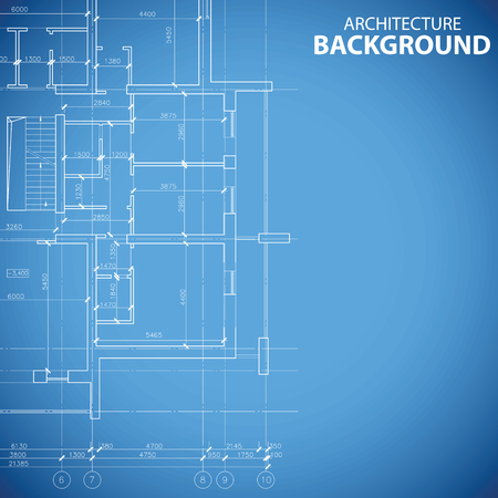 is interesting: Interesting blueprint building model in unique style. Vector illustration