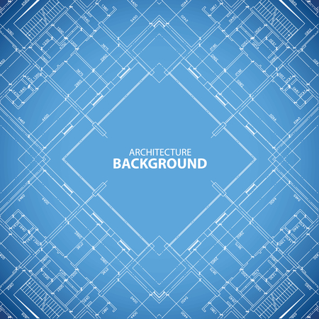 Interesting blueprint building structure background in unique style. Vector illustration Vector
