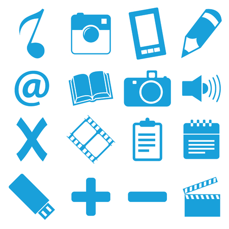 Unique blue icons set Vector