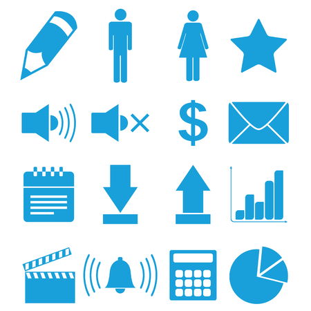 Flat blue icons set Vector