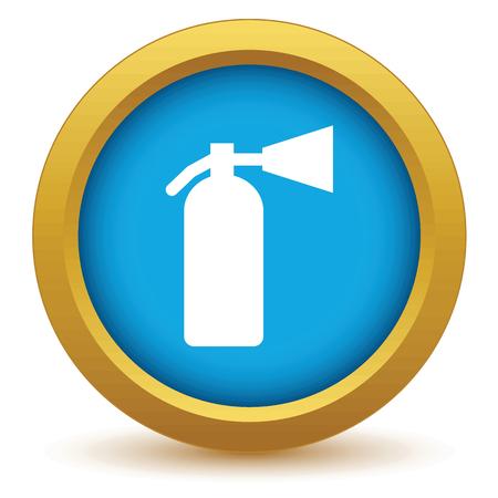 Gold fire extinguisher icon Illustration