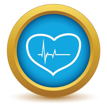 oscilloscope: Gold heart beating icon Illustration